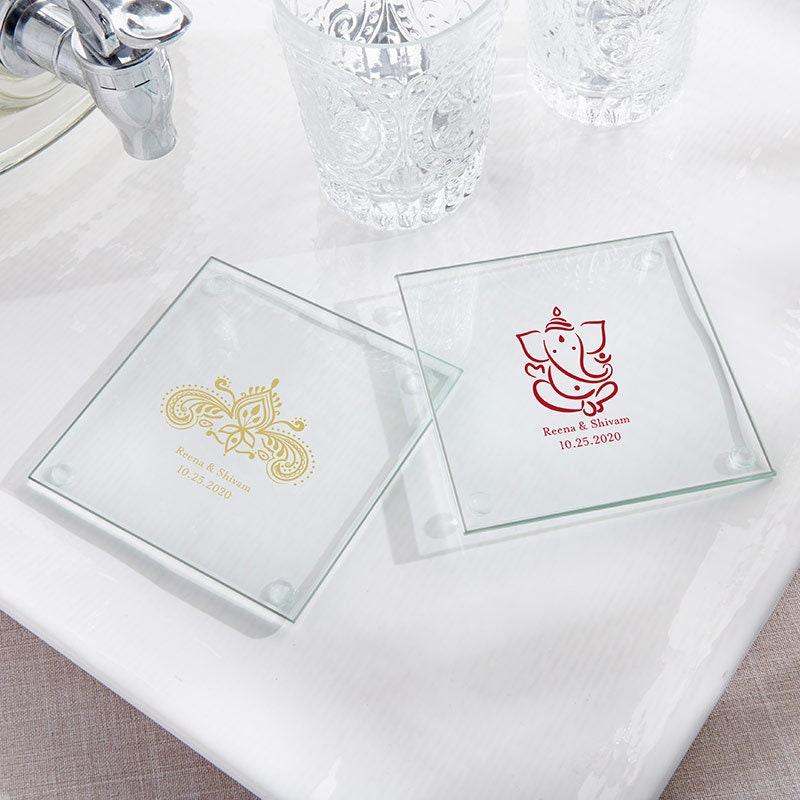 36+ Indian Wedding Coaster Favors, Personalized Glass Coasters, Henna and  Ganesha Jewel Design, Custom Indian Theme Wedding Favors