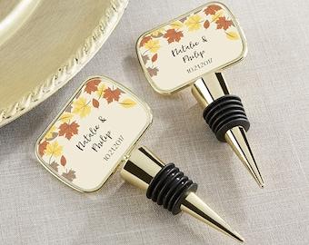 Personalized Gold Wine Botte Stopper - Bottle Stopper Favors - Fall Wedding Favors - Fall Theme Wedding (11189GD-LEF)