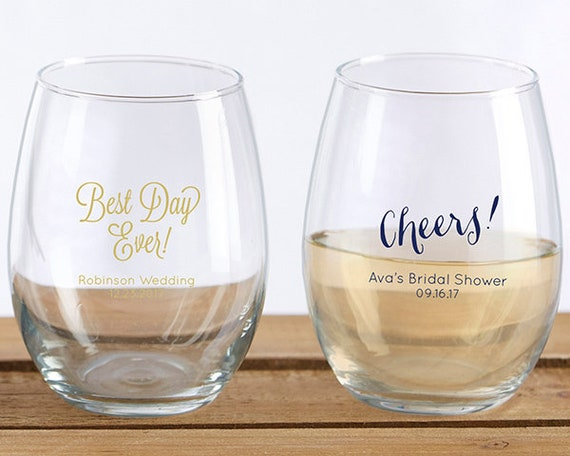 36 Stemless Wine Glass Wedding Favors 9 Ounce Personalized Etsy