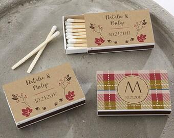 Set of 50 Matchbox Wedding Favors with Fall Design - Custom Wedding Matches (28257-FAL)