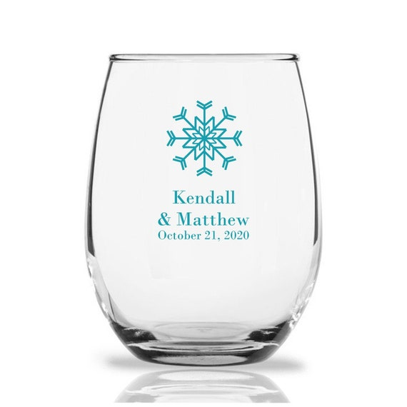 24 Snowflake Stemless Wine Glasses Personalized Wine Glass Etsy