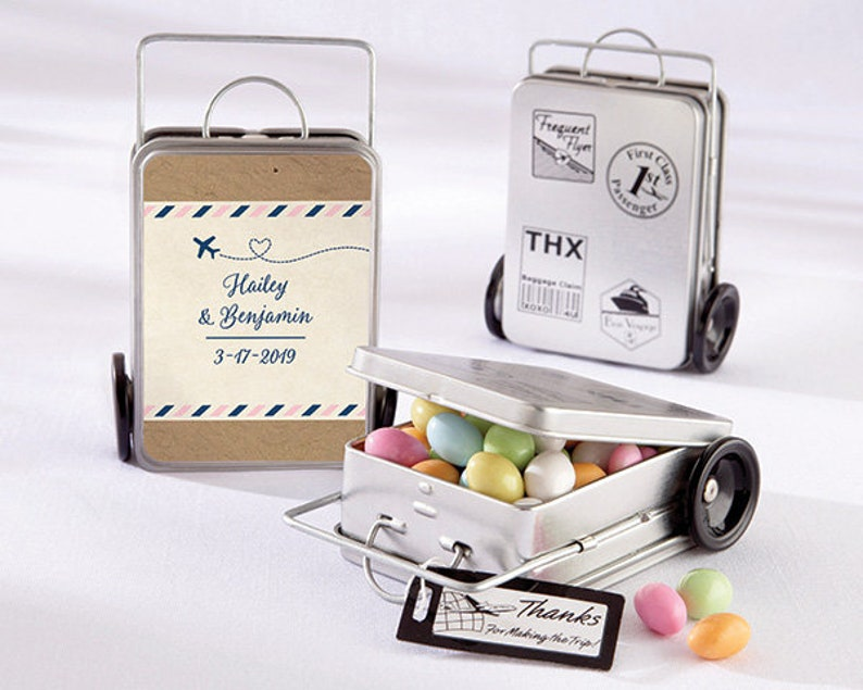 768bdc5618ae 12 Personalized Mini Suitcase Favor Tins Favor Container