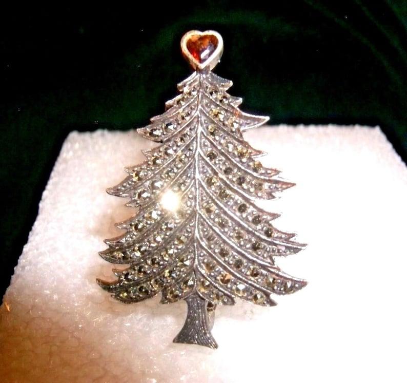 Stunning Sterling Silver Christmas Tree Brooch Pin Garnet Ruby Etsy
