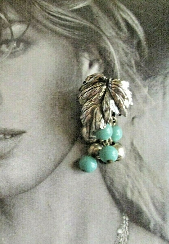 """Awesome Napier Turquoise Earrings 2"""" x 1"""" HUGE 195"""