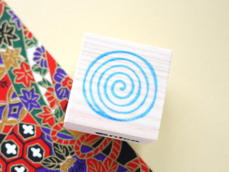 Japanese spiral art, Japanese stamp, Hanko stamp