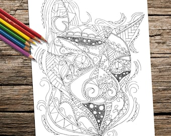Adult Coloring Page, coloring book, Printable coloring page, Instant download coloring, Cat coloring page, kitten, adult coloring book