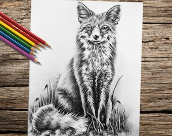 Coloring Pages, Best Selling Items, Coloring Book For Adults, Fox, Animal art, coloring page, adult coloring page, printable, fox art