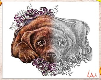 Dog coloring page, adult coloring pages, coloring pages, adult coloring page, coloring book, printable coloring, Best selling, labrador art
