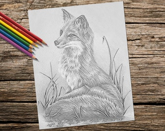 Adult Coloring Page, Fox, grayscale, coloring pages, Instant download coloring, Fox coloring page, Best selling, Printable coloring page