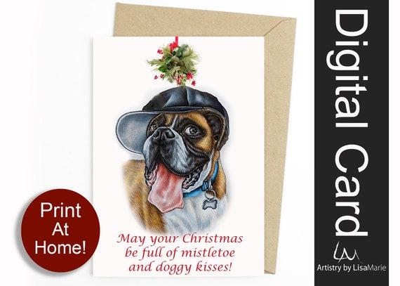 Cute Dog Christmas Card Holiday Card Dogs Dog Stationery Etsy