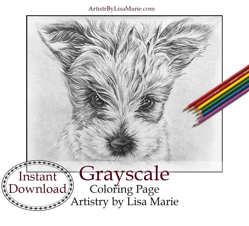 Coloring Pages Download Grayscale Dog Coloring Instant image 0