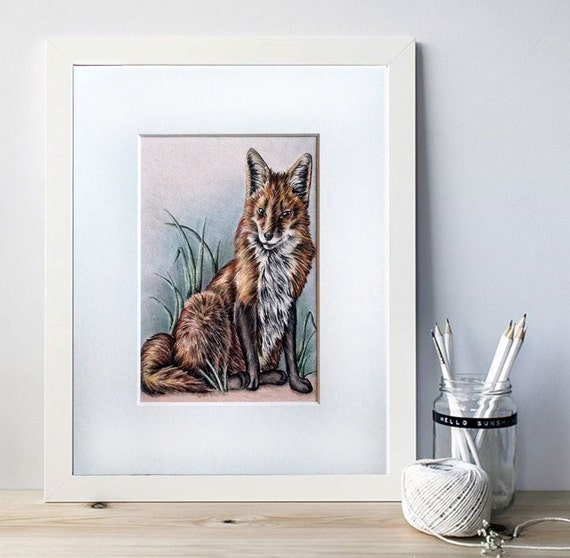 Zorro dibujo zorro arte lápiz dibujo de Animal Fox Decor | Etsy