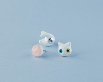 151ee2d8ec292a Polymer Clay Cat - White Cat Earrings - Turkish Angora Cat - Cute Kitty  Jewelry
