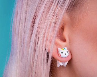 Rainbow cat earring LGBT lesbian gay bisexual transgender gift Her Him unisex Gay pride accessories Lesbian wedding gift rainbow cat earring