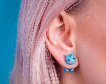 Cheshire cat earring Alice in wonderland jewelry Mad hatter tea party cosplay stud We are all mad here Tim Burton Lewis Carroll cheshire cat
