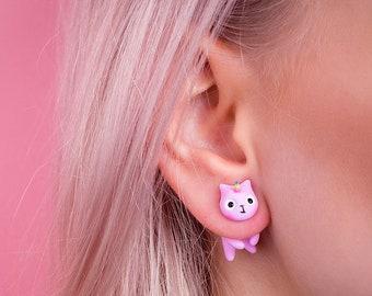Unicorn Jewelry. Unicorn Gift. Unicorn Earring. Pink Unicorn. Gift for Unicorn Lover. Unicorn Stud. Unicorn Cat. Coticorn Polymer Clay Stud