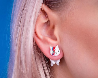 David Bowie white cat jewelry earring - ziggy stardust earring jewelry - david bowie studs - ziggy stardust cat - gift for bowie fans