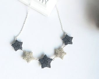 Sterling Silver Galaxy Necklace, Silver Star, Constellation, Cosmic Jewelry, Beaded Necklace, Silver and Gray, Beadwork, For Her
