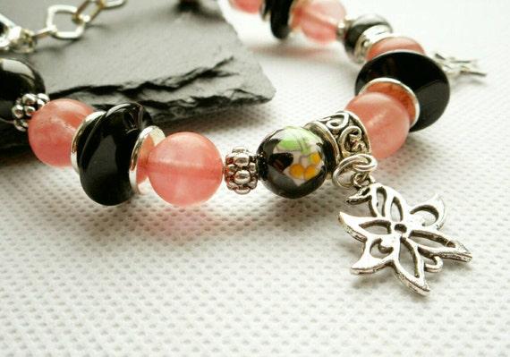 Jasper Bronze Flower Bracelet Hippy Bracelet Multistrand Boho Jewelry Gemstone Jewelry Boho Style Floral Orange Hippy Flower