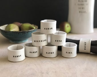 Custom personalized ceramic handmade napkin rings- (MADE-TO-ORDER)