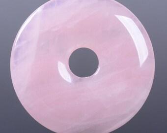 g3568.1  40mm Rose quartz donut focal pendant bead