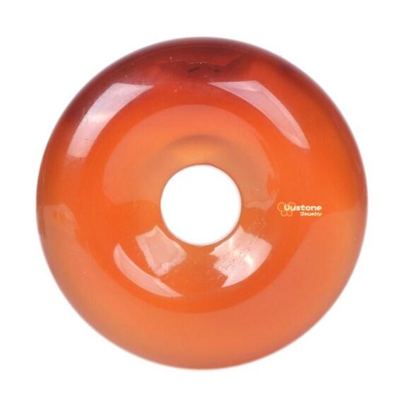 1x Brown Green Orange Agate Donut Gemstone Pendant Focal Bead Beads 35mm