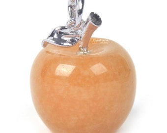 Carved Natural Orange Aventurine Gemstone Cute Exquisite Apple Pendant Fashion Gift Jewelry Making