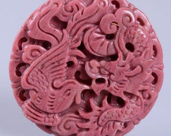 g2558 Pink Chinese rhodonite dragon phoenix pendant focal bead 48mm