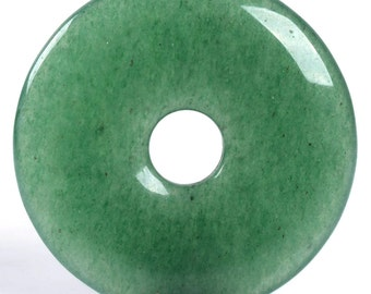 g0118 Green aventurine donut gemstone pendant focal bead 30mm