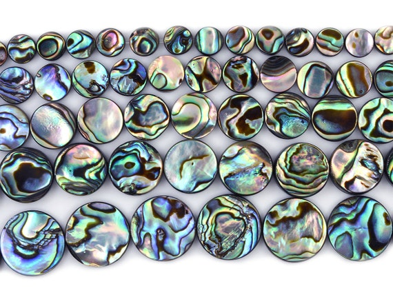 12mm Natural Abalone Shell Flat Coin Beads Strand 16 Inch Jewelry Making Beads