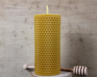 Beeswax Honeycomb Pillar Candle, moulded. Over 20 hours burn time.