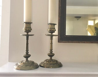 Vintage tall carved wood bronze floral turned candle holders centerpiece coffee table table great for mantel