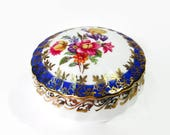 Dresden Trinket Box Hand Painted Round Jewelry Storage Keepsake Box Dresden China Germany