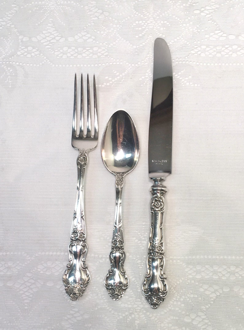 VERY GOOD CONDITION WATSON MEADOW ROSE STERLING SILVER SALAD FORK