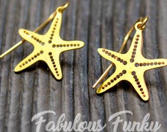 Brass Earrings-Starfish