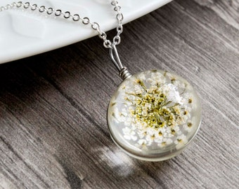 White Flower Necklace-Silver