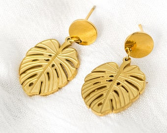 Earrings with Monstera Leaf Pendants - Gold - Palm Leaf - Plant - Jungle - Plantmom - leaf - Monstera Philodendron