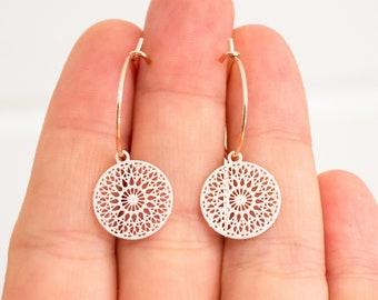 Filigree earrings with mandala pendants - Pink / Rose Gold - Light earrings - Boho - Discs