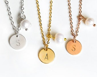 Personalized Initials Circle Necklace with Pearl - Wish Letter - Name Chain - Letter - Gift - Mother's Day Coin - 925s / Stainless Steel