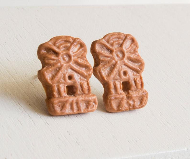 Spekulatius Biscuits Stud Earrings Miniature Food Biscuit Food Food Fimo Hypoallergenic Stainless Steel