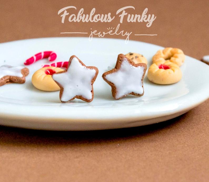 Cinnamon Star Mini Stud Earrings Miniature Food Christmas Mini Cookies