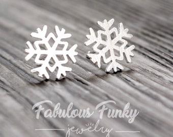 BESTSELLER - Snowflake Earrings - Silver - 925 Sterling Silver - Brushed