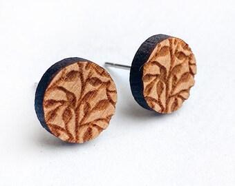 Floral Earrings Wood - Laser - Wood - Round - Pattern - Boho - Plants
