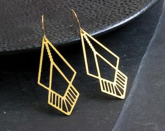 BESTSELLER - Brass Earrings - Geometric l Statement   Boho I Ethno
