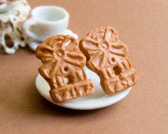 Spekulatius Biscuits Earrings Miniaturefood - Biscuit - Food - Food - Fimo - Hypoallergenic - Stainless Steel