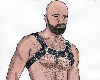 Gay Illustration - Daniel - Original Drawing(oak) - Painting by iomworks  - watercolor and acrylic gay hot Nude man drawing.