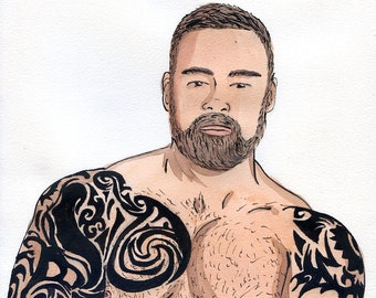 Gay Illustration - Martín  - Original Drawing(oak) - Painting by iomworks  - watercolor and acrylic gay hot Nude man drawing.