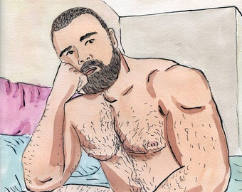 Gay Illustration - Lluis  - Original Drawing(oak) - Painting by iomworks  - watercolor and acrylic gay hot Nude man drawing.