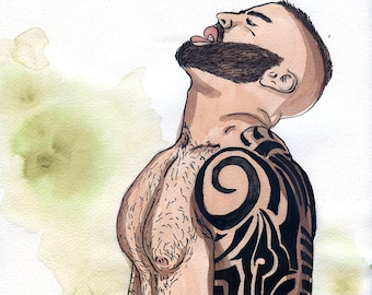 Gay Illustration - Explosion  - Original Drawing(oak) - Painting by iomworks  - watercolor and acrylic gay hot Nude man drawing.