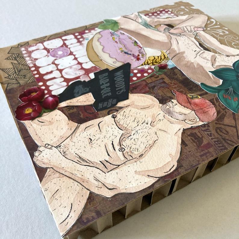 muscled-gay collage-art collage-paper art-layout-mixed media-composition-gayart-homoart-Las vegas-slave-jockstrap-gay scrapbooking-pride